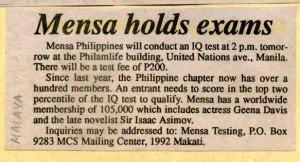 19930416 Malaya - Mensa holds exam