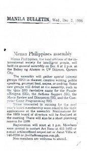 19981202 Manila Bulletin - Mensa Assembly